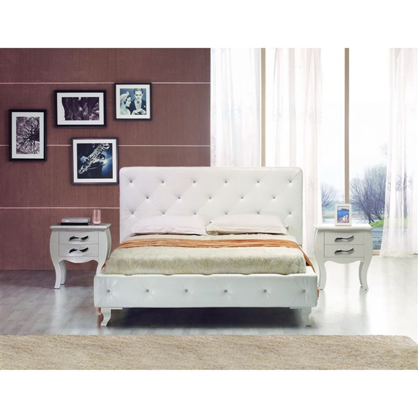 Modrest Monte Carlo - Modern Leatherette Bed with Crystals