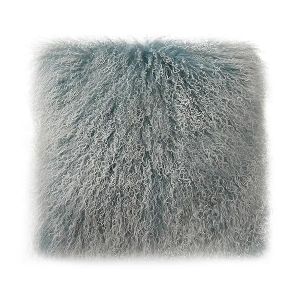 Lamb Fur Pillow in Blue