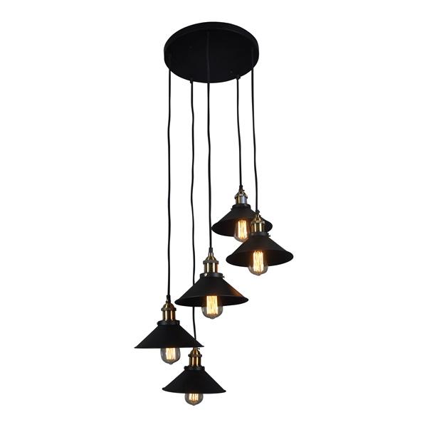 Renata Circular 5-Light Pendant Lamp, Black