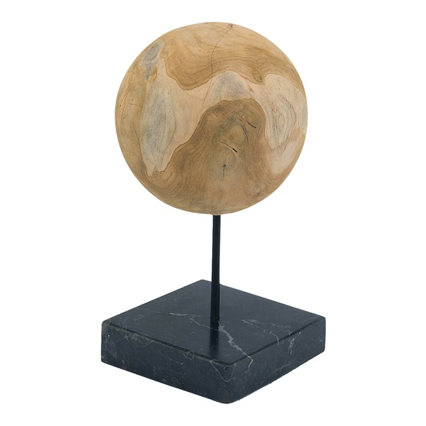 Round Teak Ball on Black Marble Base
