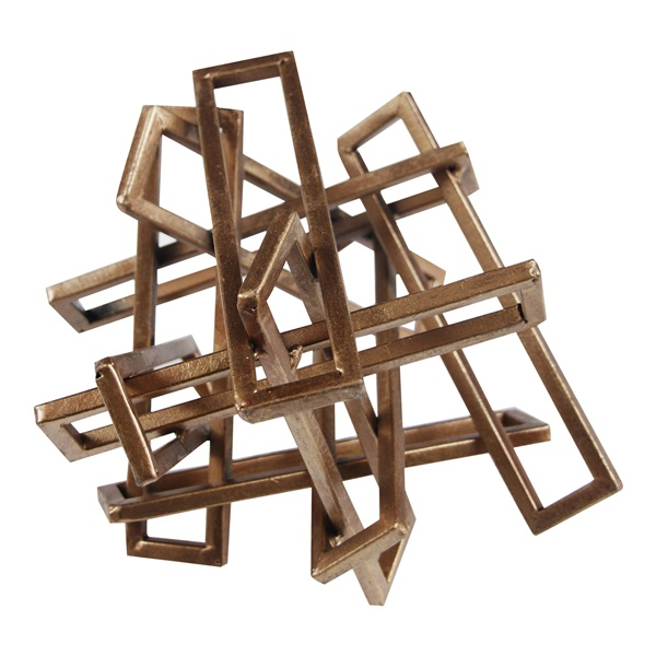 Tangled Rectangles Sculpture - Gold (Small)