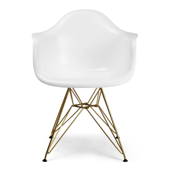 Molded Fiberglass Arm Chair (Brass) in Matte White