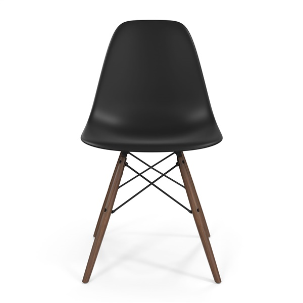 Molded Fiberglass Side Chair with Wood Legs (Glossy White/Walnut)