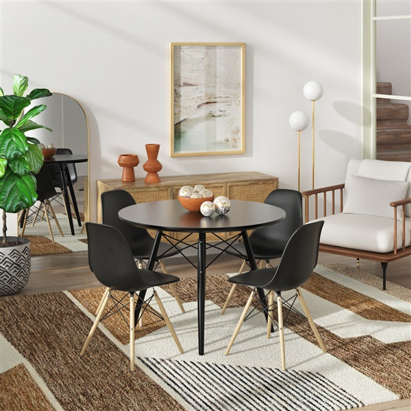 Ordinaire Molded Plastic Side Chair With Wood Legs. U003e