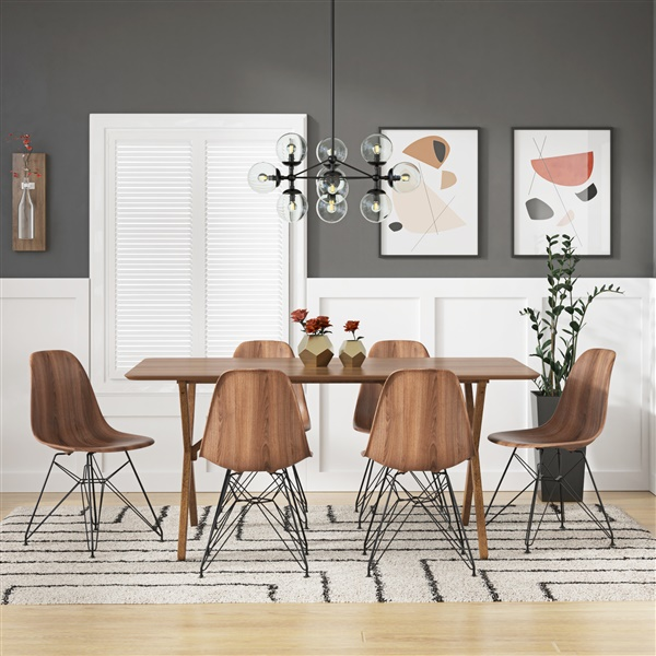 Molded Plastic Side Chair - Printed Walnut