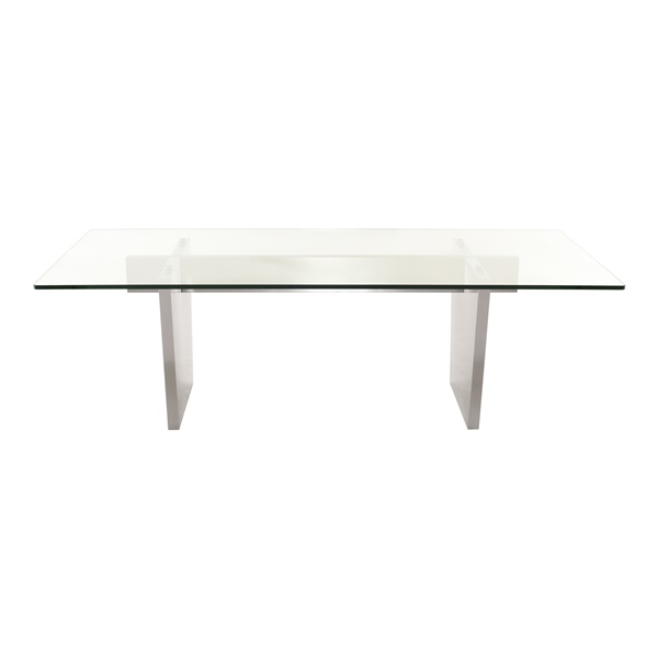 Aiden Dining Table (Tempered Clear / Silver / 94.5in.)