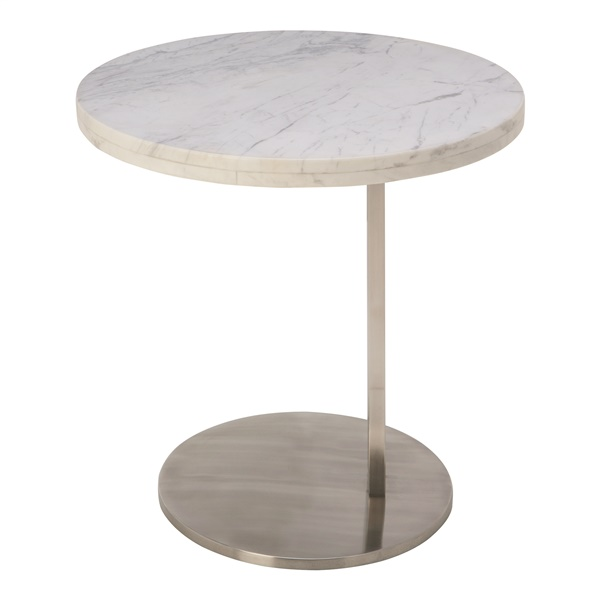 Alize Side Table - White and Silver