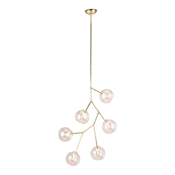 Atom 6-Light Pendant (Polished Gold / Clear Shade)