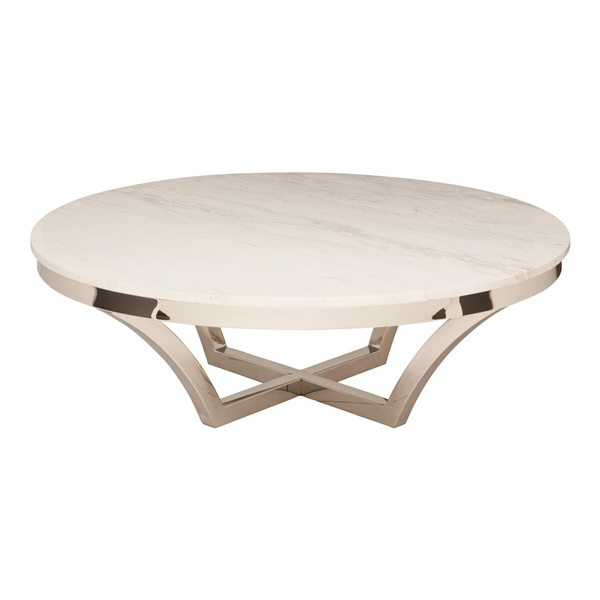 Aurora Coffee Table (White / Silver)