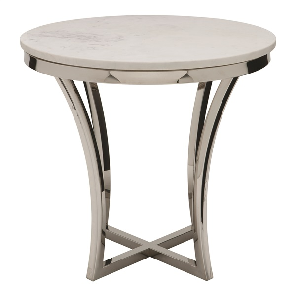 Aurora Side Table (White / Silver)