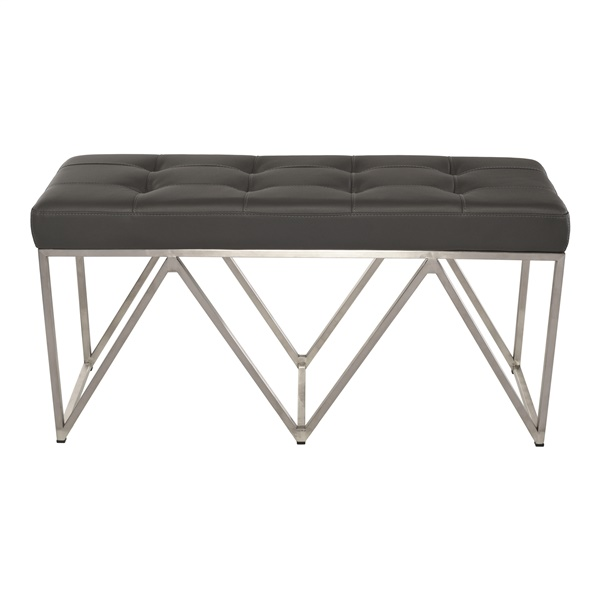 Celia Occasional Bench (Black / Brushed Silver)