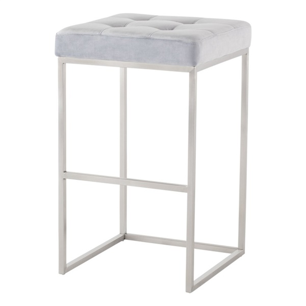 Chi Bar Stool (Black Naugahyde / Silver)