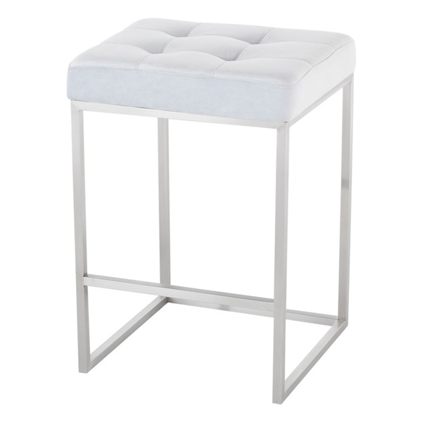 Chi Counter Stool (Black Naugahyde / Silver)