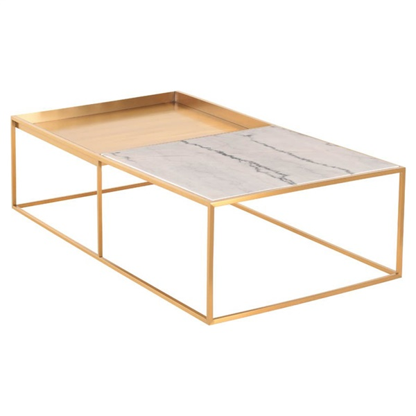 Corbett Rectangle Coffee Table (White / Gold / Large)