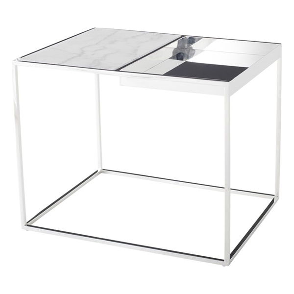 Corbett Side Table (White / Silver)