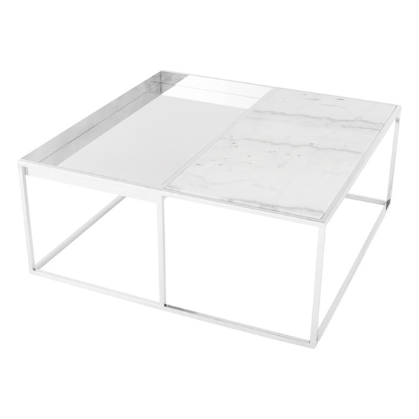 Corbett Square Coffee Table (White / Silver / Small)