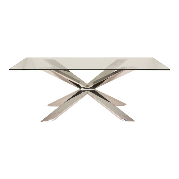 Couture Glass Dining Table (Stainless Steel)