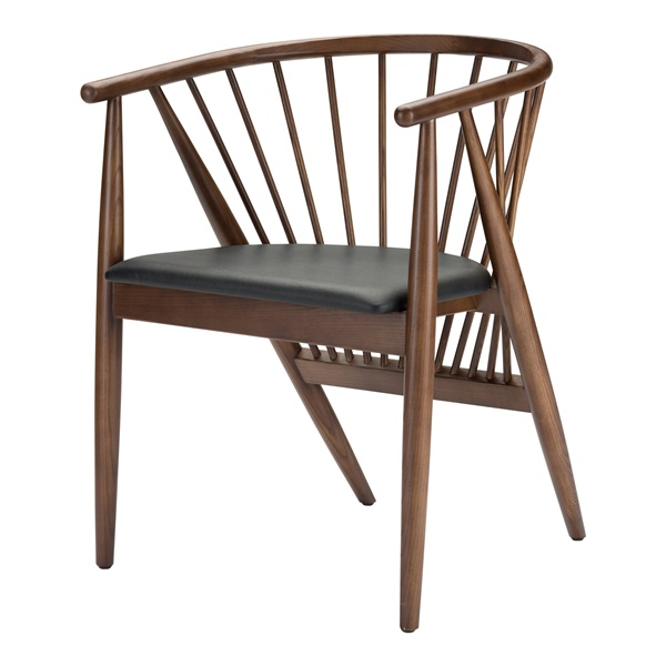 Danson Dining Chair - Black and Stained Walnut
