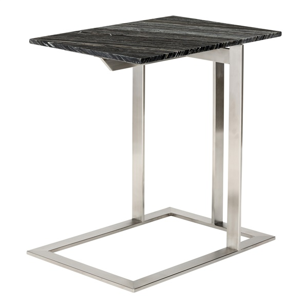 Dell Side Table (Black Wood Vein / Silver)