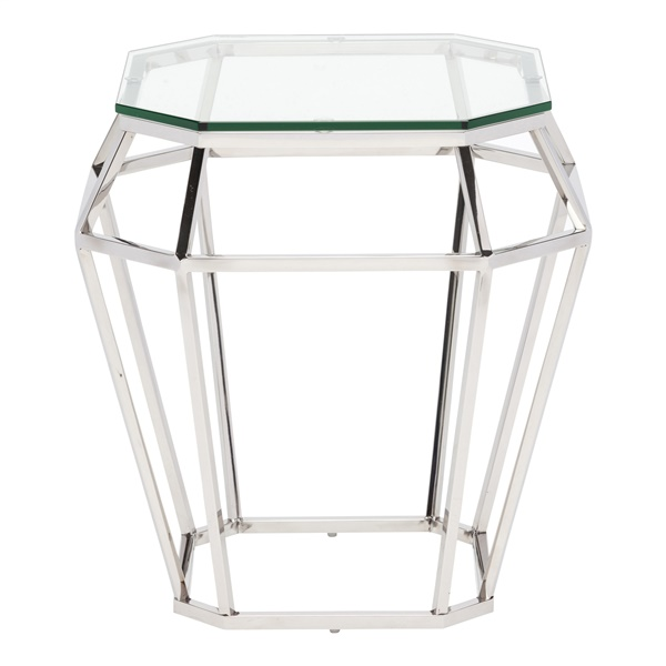 Diamond Side Table with Clear Glass Top