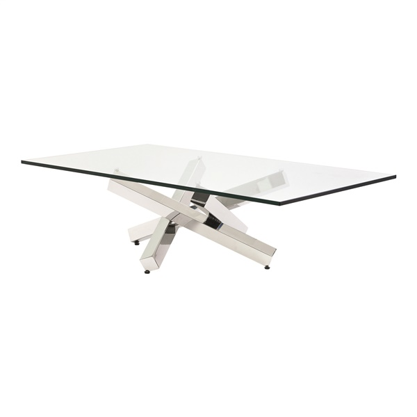 Henri Coffee Table with Clear Glass Top - Silver