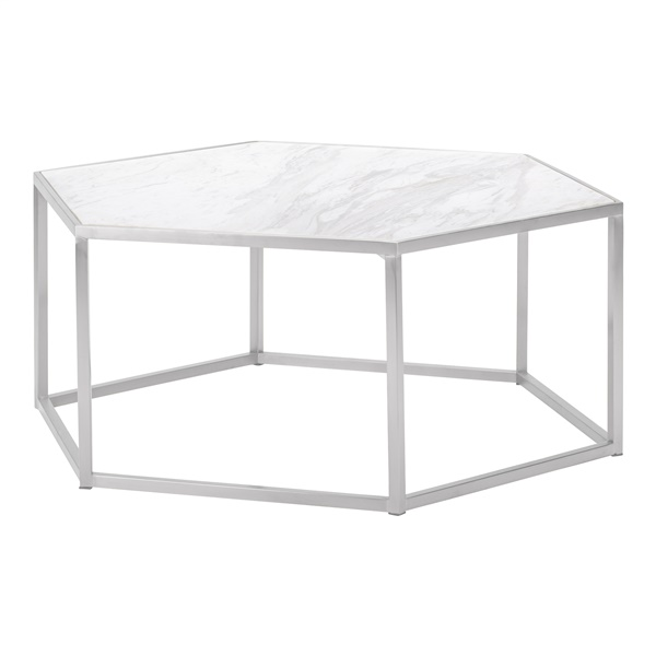 Hexion Coffee Table (White Marble / Brushed Gold)