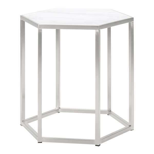 Hexion Side Table (White Marble / Brushed Gold)