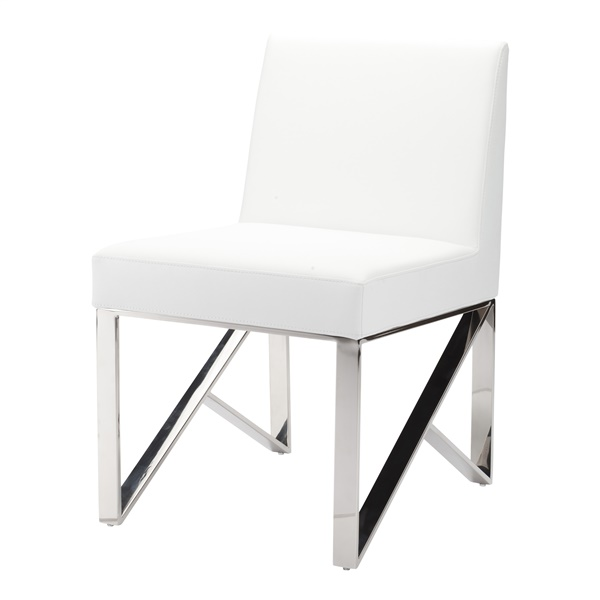 Jacqueline Dining Chair - White and Silver