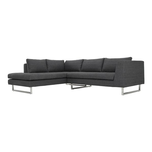 Janis Sectional Sofa (Dark Grey Tweed / Silver / Left Facing)