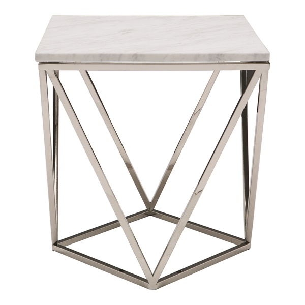 Jasmine End Table (White / Silver)