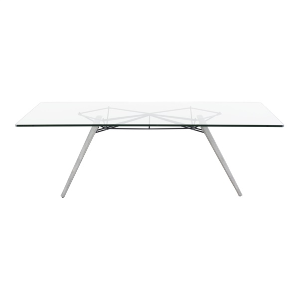 Kahn Dining Table (Tempered Glass / Grey / Small)