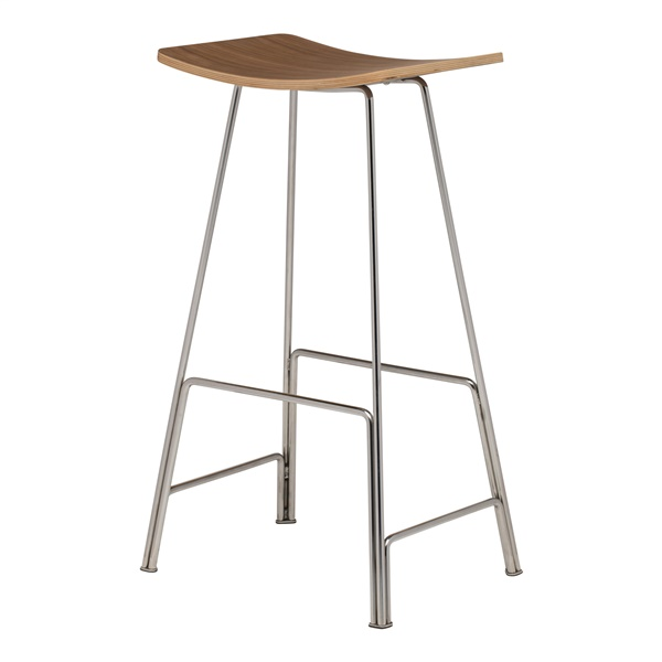 Kirsten Bar Stool (Walnut / Silver)