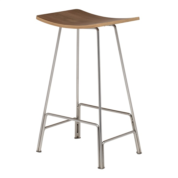 Kirsten Counter Stool (Walnut / Silver)
