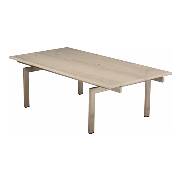 Louve Rectangle Coffee Table (White Marble / Brushed Stainless)