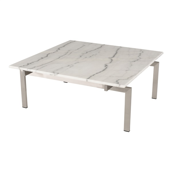 Louve Square Coffee Table (White Marble / Brushed Stainless)