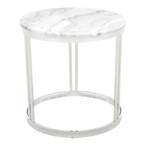 Nicola Side Table (White Marble / Brushed Gold)
