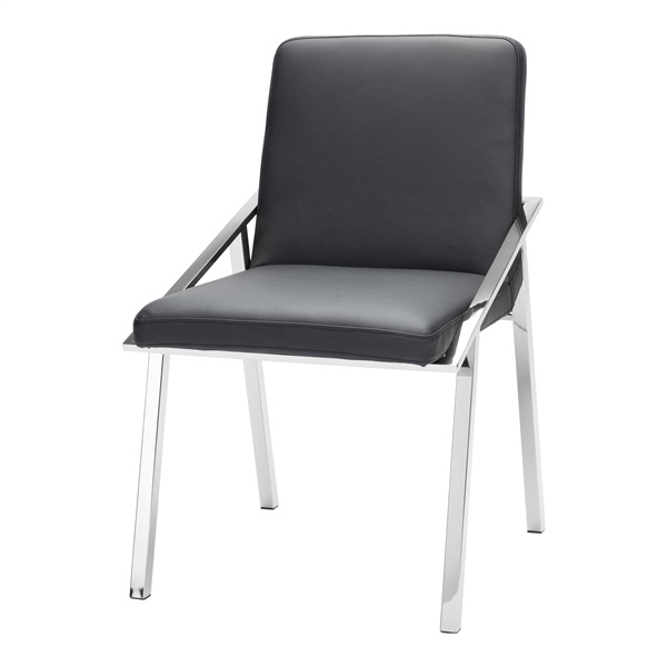 Nika Dining Chair (White / Polished Silver)