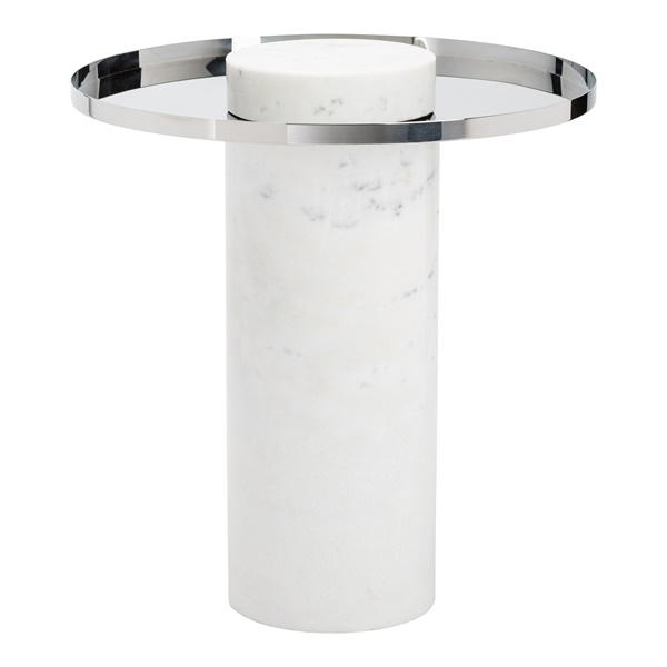 Pillar Side Table (Silver / White)