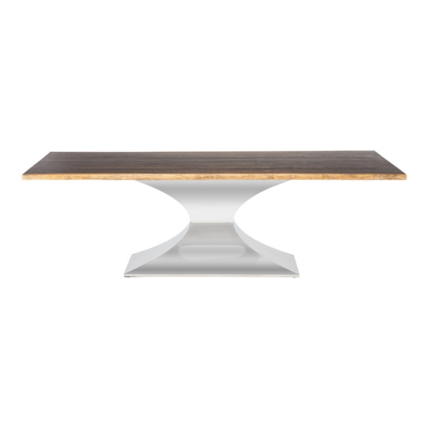 Praetorian Dining Table with Wood Top (Medium / Seared Oak / Polished Silver)