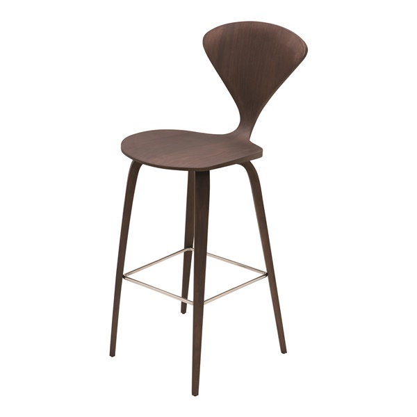 Satine Bar Stool (Dark Walnut / Polished Stainless Steel)