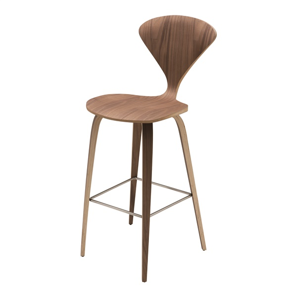 Satine Counter Stool (Dark Walnut / Polished Stainless Steel)