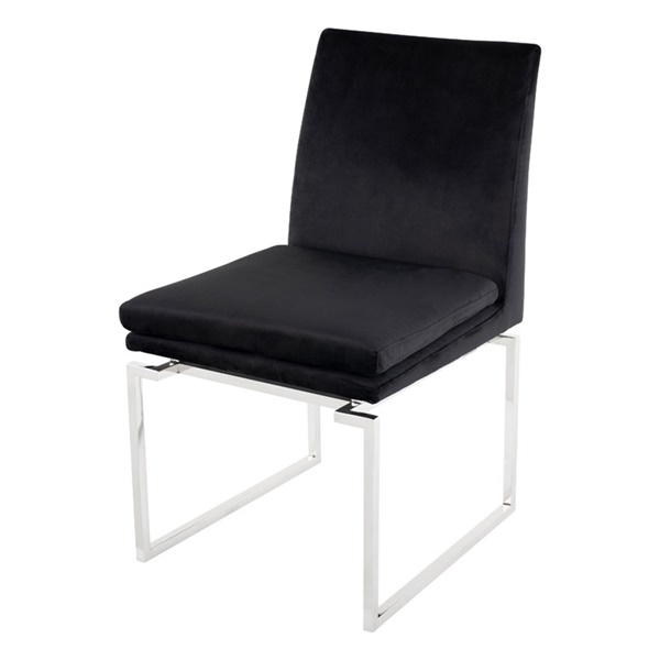 Savine Dining Chair (Black Naugahyde / Polished Silver)
