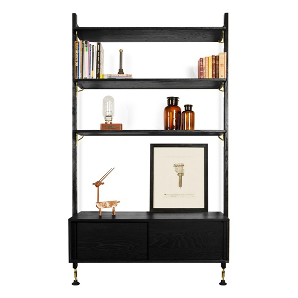 Theo Wall Unit with Sliding Cabinet (Hard Fumed / Matte Black)