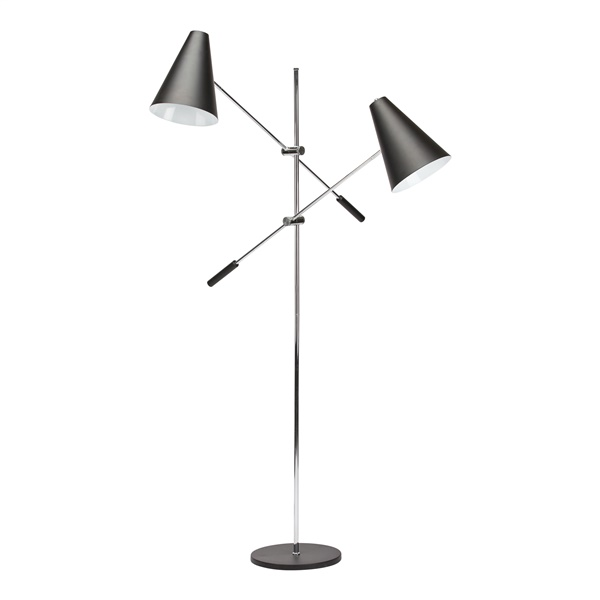 Tivat Floor Lamp with 2 Lights - Black