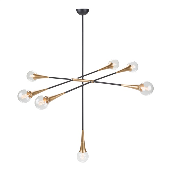Tristan 7-Light Pendant (Matte Black / Matte Gold)