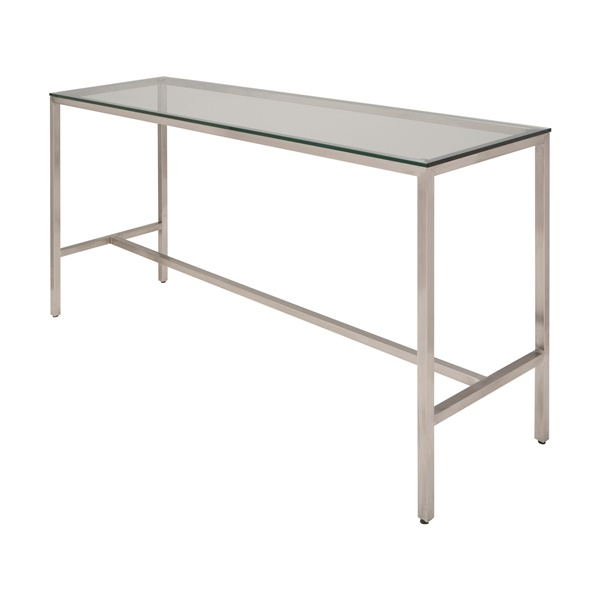Verona Counter Table with Clear Glass Top - Silver