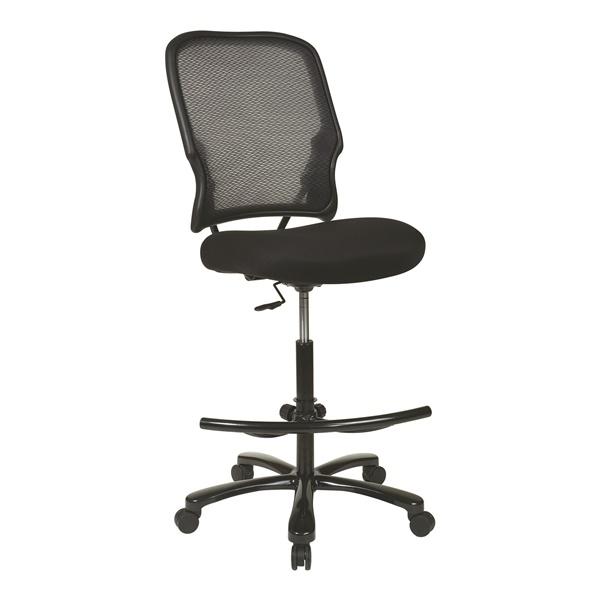 Big Man's Dark AirGrid Back Drafting Chair with Black Mesh Seat
