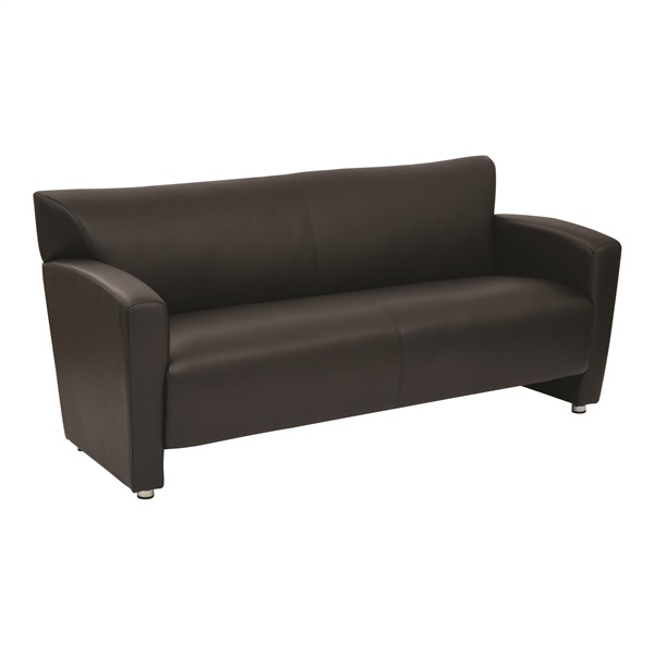 Black Faux Leather Sofa with Silver Finish Legs