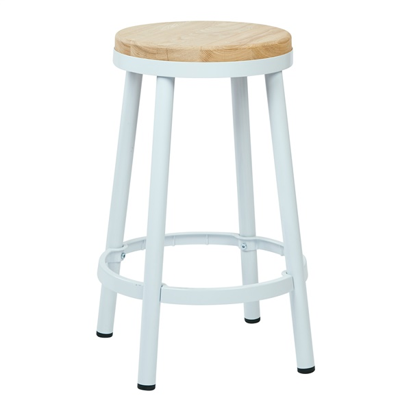 Bristow Metal Backless Bar Stool (White)