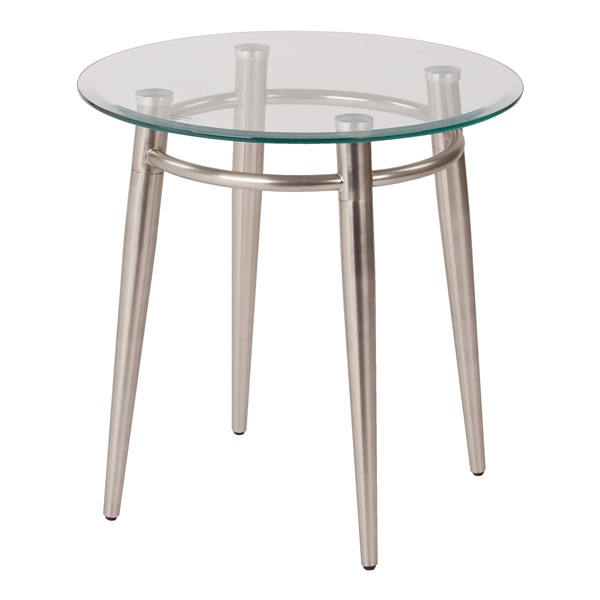 Brooklyn Clear Tempered Glass Round Top End Table with Nickel Brushed Legs